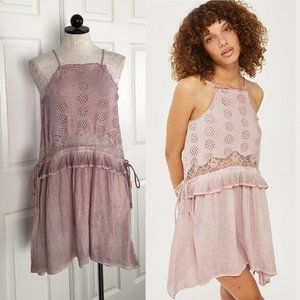 Topshop Dusty Rose Eyelet Dress sz 4 Ruffle Boho